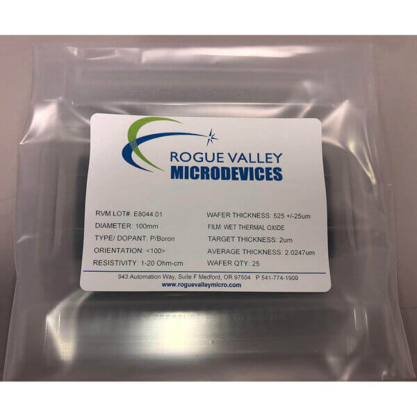 Buy Online! 2um Thick Thermal Oxide on Silicon Wafers from Rogue