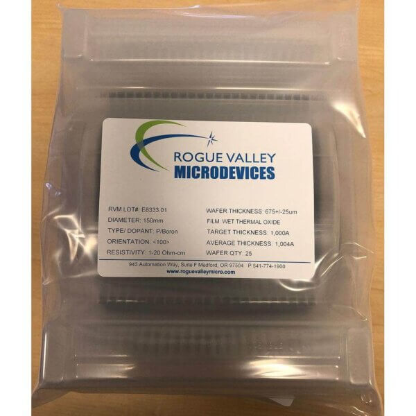 Buy Online! 150mm Silicon Wafers with 1,000A Thermal Oxide from Rogue