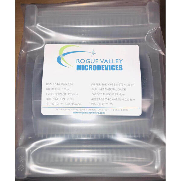 Buy Online! 6um Thick Oxide on 150mm Silicon Wafers with from Rogue