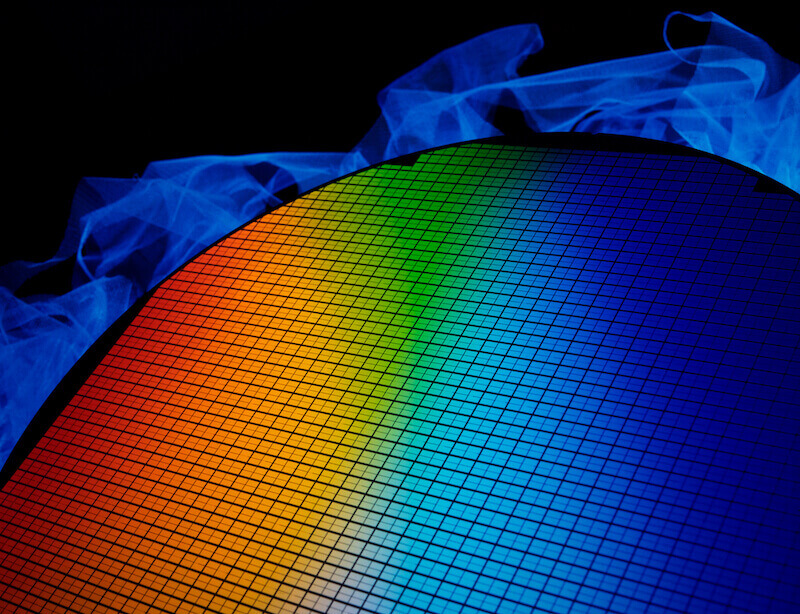 silicon wafer close up